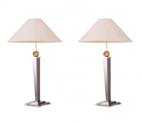 Pair of Belgo Chrome Table Lights in Brushed Steel, 1970