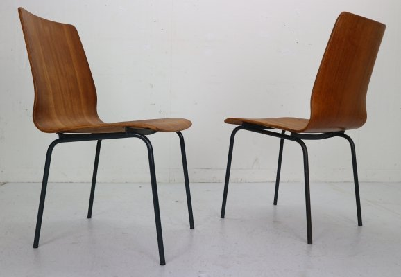 Pair of Teak Dining Room Chairs by Friso Kramer for Auping, 1950s