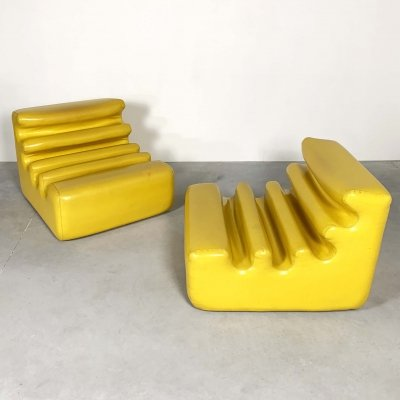Yellow Karelia Lounge Chairs by Liisi Beckmann for Zanotta, 1970s
