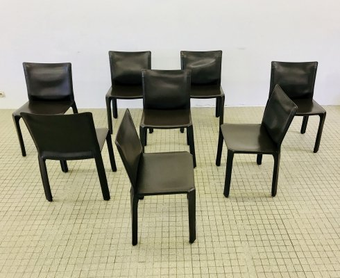 8x Cassina Cab 412 brown leather dining chairs by Mario Bellini