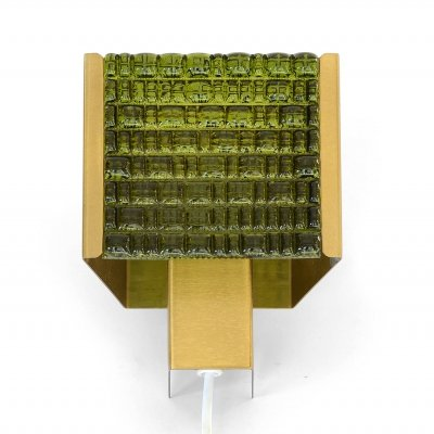 Brass wall light/sconce with green glass by NAFA, Sweden 1960s