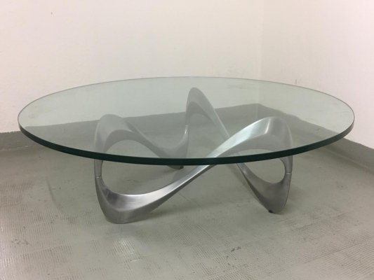 Aluminum & Glass Snake Coffee Table by Knut Hesterberg, 1970