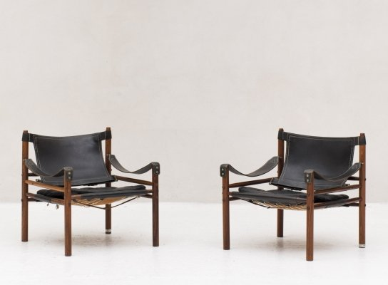 Set of 2 'Sirocco' Safari chairs by Arne Norell, Sweden 1960's