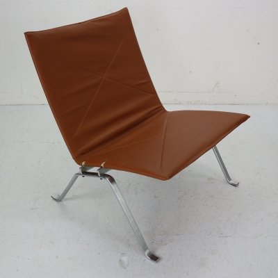 Danish PK22 Leather Easy Chair by Poul Kjaerholm for E. Kold Christensen, 1956