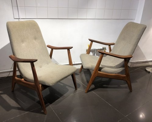 Pair of Easy Chairs by Louis Van Teeffelen for Wébé, 1960s