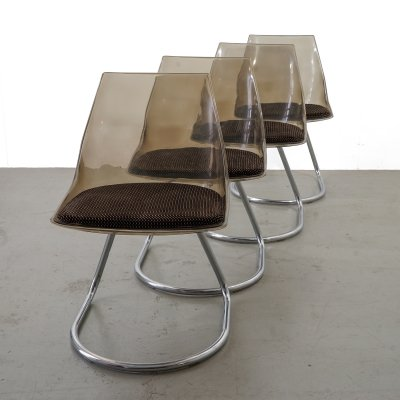 Mid-Century set of 4 original cantilever chairs with upholstered plastic shell