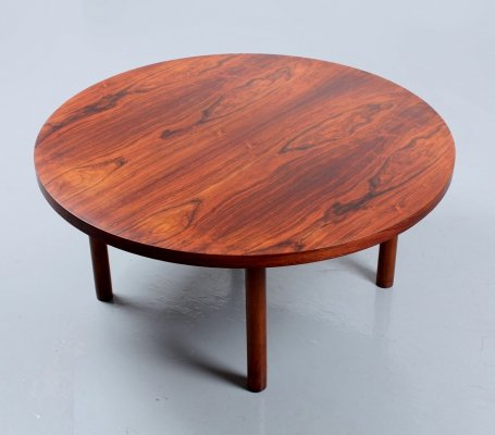 Danish style large round rosewood coffee table, 1960s