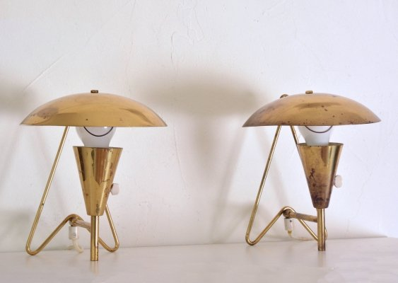 Pair of EV 57 wall lamps by Itsu, 1950s
