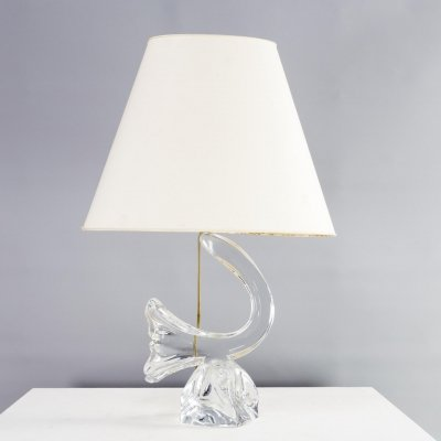 60s Crystal art table lamp for Daum France