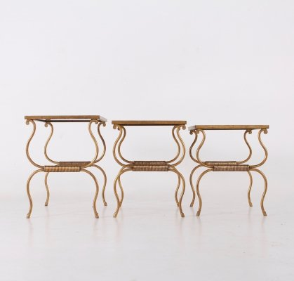 Gilt wrought iron nesting tables, 1950s