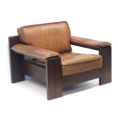 Cognac-colored thick leather Vintage easy chair by Leolux, 1960s