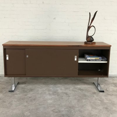 Vintage Metal Sideboard with Walnut top & chrome-plated T-base, 1960s