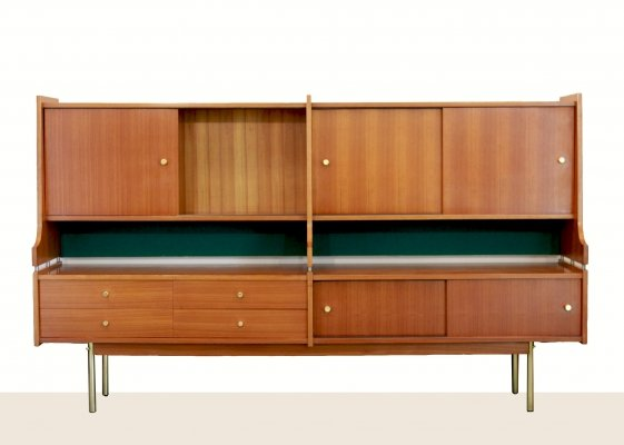 1950s solid teak Swedish sideboard with brass feet