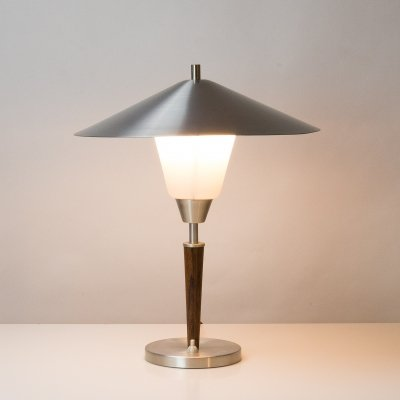 Rosewood, Aluminium & Opaline Glass Table Lamp by Fog & Morup, Denmark 1950s