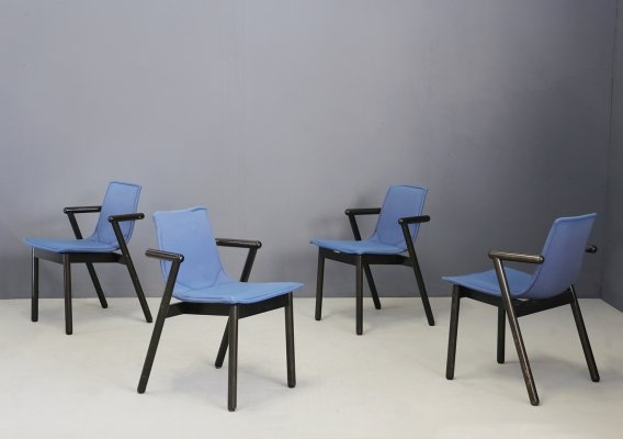 Set of 4 Post-Modern chairs by Cassina black lacquered wood & blue fabric, 1980s