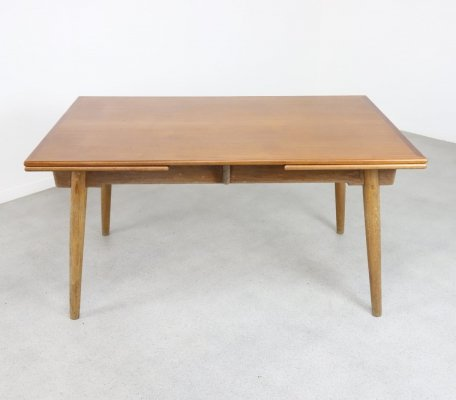 Extendable Danish dining table in teak & oak, 1950s/1960s