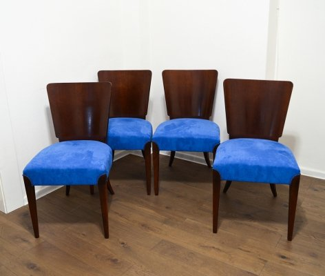 Set of 4 Model H-214 Dining Chairs by Jindřich Halabala, 1950s