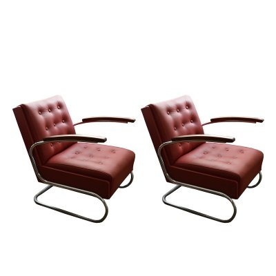 Pair of Leather Armchairs by Mücke Melder, 1930s