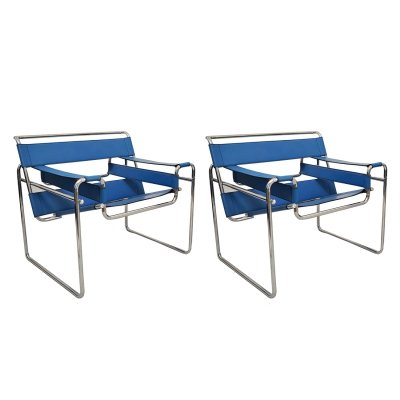 Pair of Chrome & Leather 'Wassily' Armchairs by Marcel Breuer for Gavina, 1960s