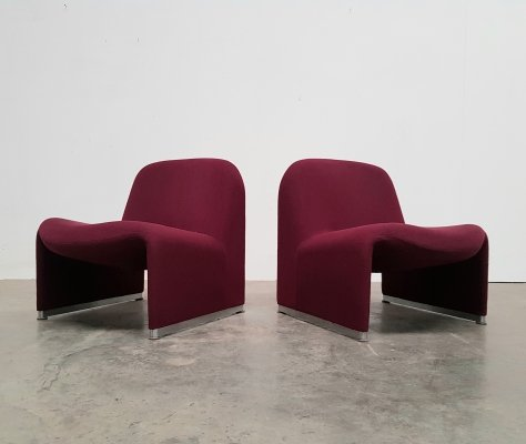 Pair of Burgundy red Alky chairs by Piretti for Castelli, 1970s