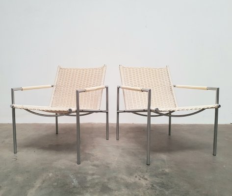 Set of 2 off white pit cane lounge chairs by Martin Visser for Spectrum, 1980s