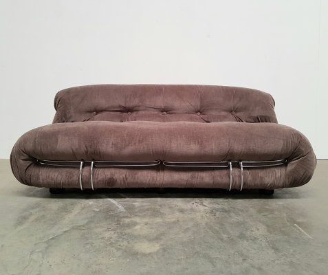 Grey/taupe Soriana 2-seater sofa by Afra & Tobia Scarpa for Cassina, 1970s