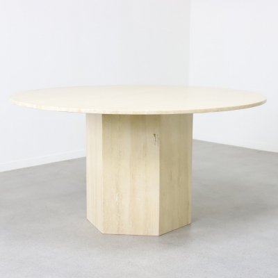 Large travertine dining table, Italy 1970s