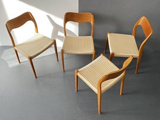 Set of 4 Model 71 Teak Chairs by Niels Otto Møller for J. L. Møller Møbelfabrik, 1950s