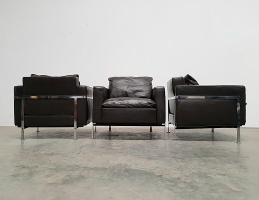 Brown leather RH 302 Lounge chairs by Robert Haussmann for De Sede, 1970s