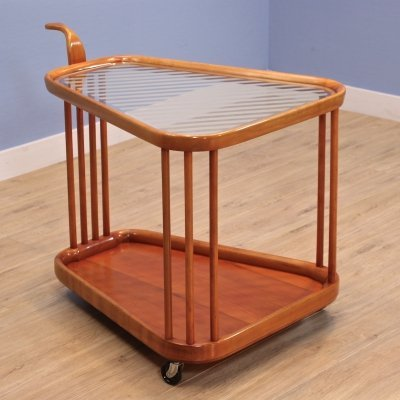 Serving trolley in beech by Cesare Lacca for Cassina, 1960s