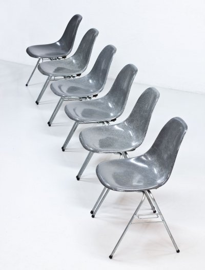 Set of 6 Elephant Grey Eames 'DSS' Chairs