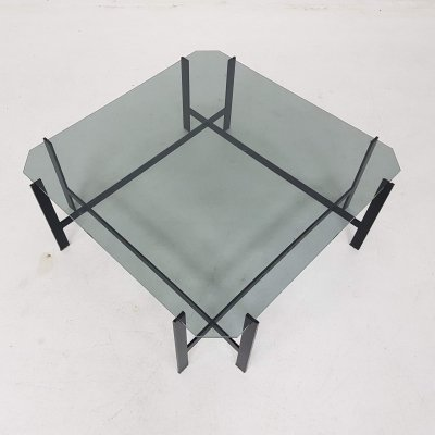 Mid-century modern metal & glass coffee table, Dutch design 1950's