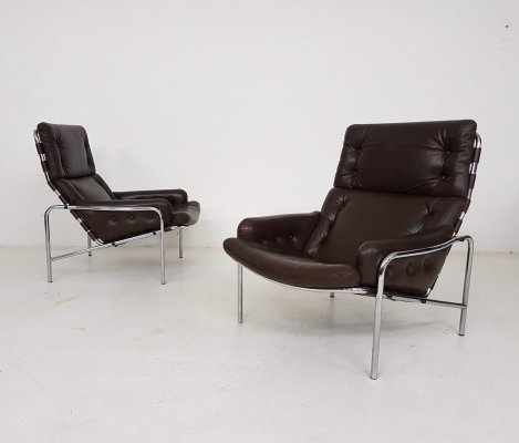 Brown Leather 'Nagoya' Lounge Chairs by Martin Visser for 't Spectrum, 1969