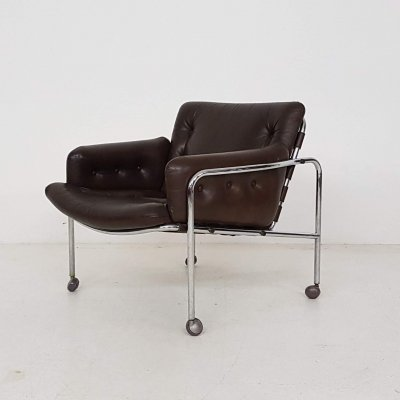 Brown Leather 'Osaka' Lounge Chair by Martin Visser for 't Spectrum, 1969