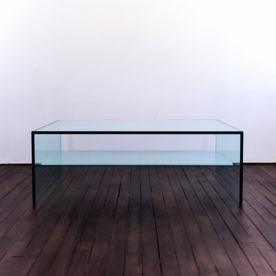 Coffee table in glass with shelf in frosted glass, 1990s