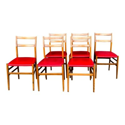 Set of 6 Leggera dining chairs by Gio Ponti for Cassina, 1950s