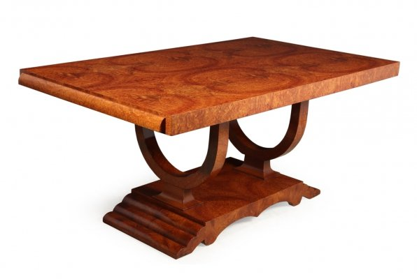 French Art Deco Amboyna Extending Dining Table, Circa 1930