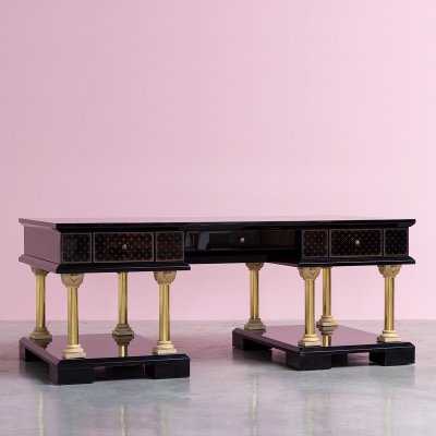 Black eclectic postmodern writing table with brass columns & ceramic ornaments, 1980s