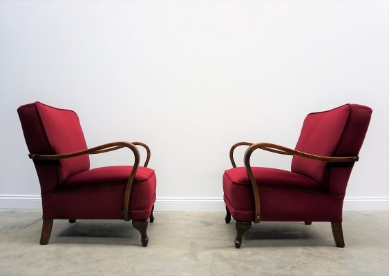 Pair of Art Deco Armchairs in Luxury Burgundy Velvet, 1940's
