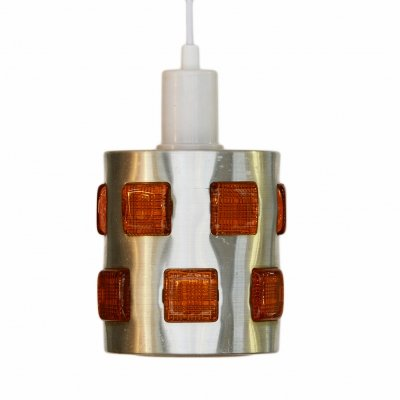 Brushed aluminum pendant light with orange glass prisms, Sweden 1970s