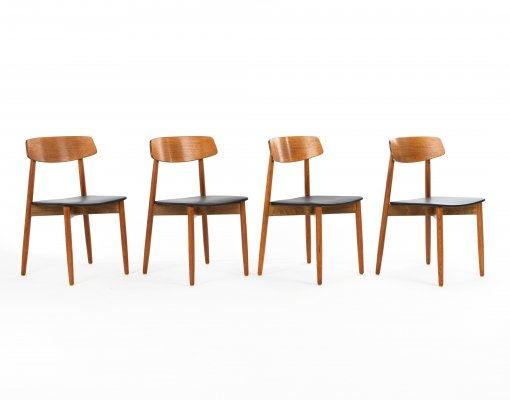 Set of 4 dining chairs by Harry Ostergaard for Randers Møbelfabrik, 1960s