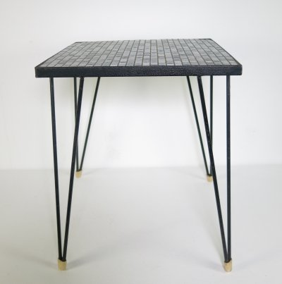 Small side-table with tiles & hairpin legs, ca 1960