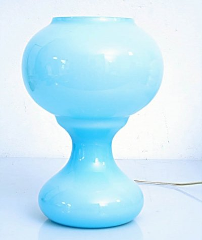 Blue glass vintage table lamp
