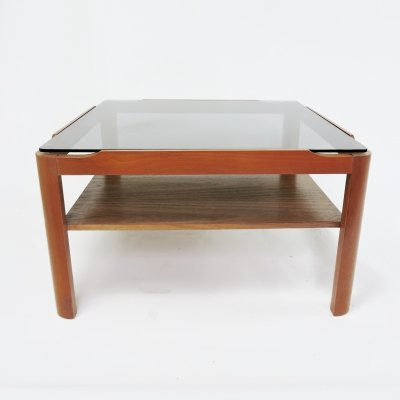 Square Teak & Smoked Glass Coffee Table, 1970s