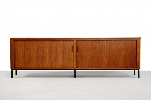Minimalist rosewood Dutch design sideboard with tambour doors from EEKA