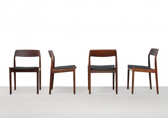 Set of 4 Brazilian Rosewood dining chairs by Johannes Nørgaard