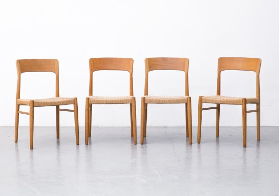 Set of 4 Paper Cord & Oak chairs by Korup Stolefabrik, 1960s