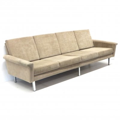 Vintage 4-person sofa with beige upholstery, 1960s