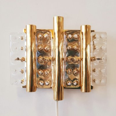 Brass & glass wall sconce by Carl Fagerlund for Lyfa, 1960s