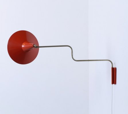 Red adjustable paperclip wall light, 1950s